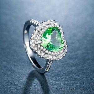 Women 925 Silver Heart Shaped Green Amethyst Ring